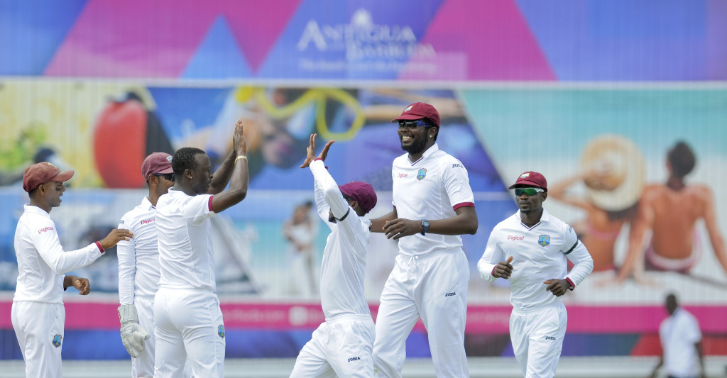 on day one of the first Test West Indies v England at Vivian Richards Cricket Stadium, North Sound, Antigua on Monday, April 13, 2015. Photo by WICB Media/Randy Brooks of Brooks Latouche Photography