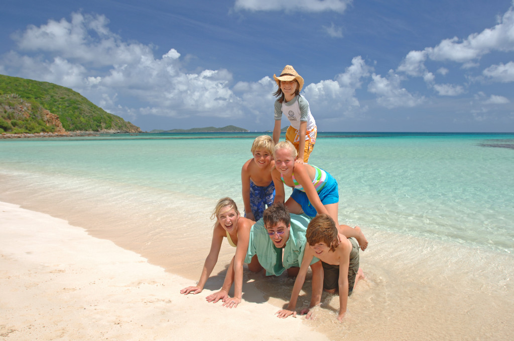 Family on holiday in the British Virgin Islands